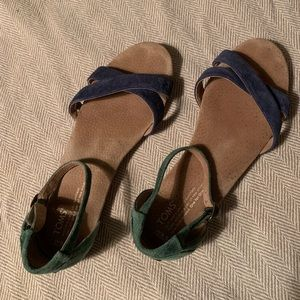 TOMS Suede Correa Blue Green Flat Sandals